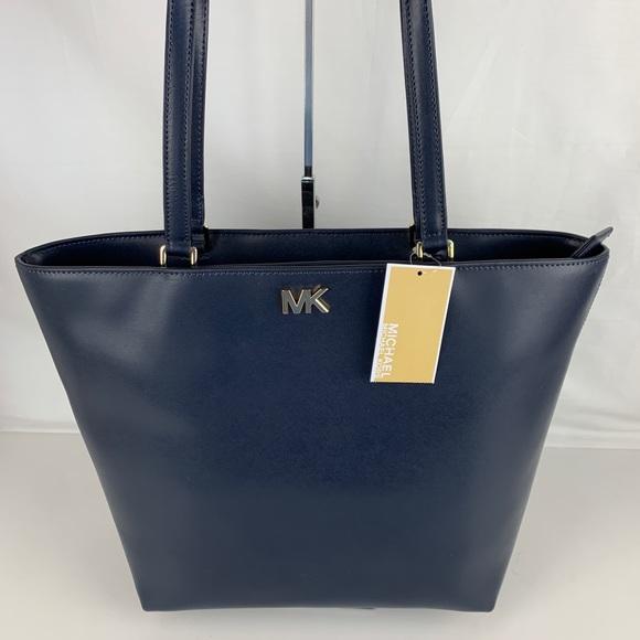 Michael Kors Handbags - New Michael Kors Mott Navy Leather Tote